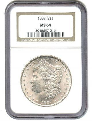 1887 $1 Ngc Ms64 Morgan Silver Dollar photo