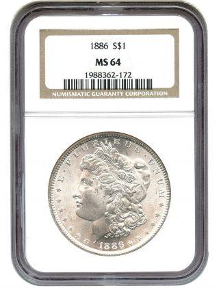 1886 $1 Ngc Ms64 Morgan Silver Dollar photo