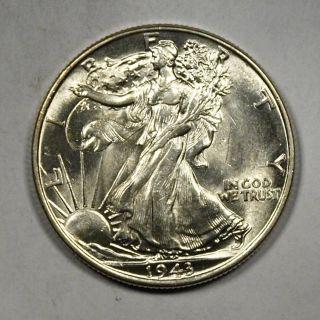 1943 Silver Walking Liberty Half Dollar,  Near Gem Uncirculated photo
