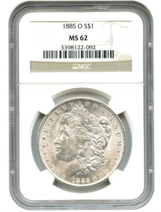 1885 - O $1 Ngc Ms62 Morgan Silver Dollar photo