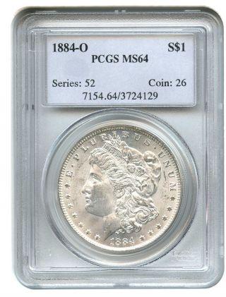 1884 - O $1 Pcgs Ms64 Morgan Silver Dollar photo