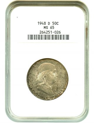 1948 - D 50c Ngc Ms65 Franklin Half Dollar photo