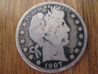 1907 - D Barber Head Silver Half Dollar - 1907d 1907 D photo
