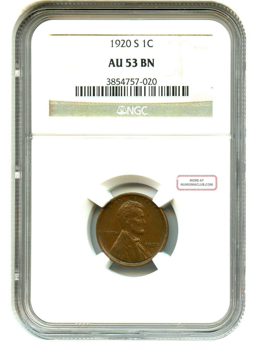 1920 - S 1c Ngc Au53 Lincoln Cent Small Cents photo