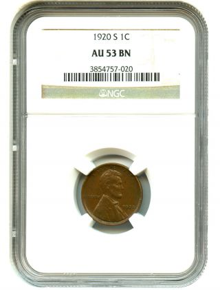 1920 - S 1c Ngc Au53 Lincoln Cent photo