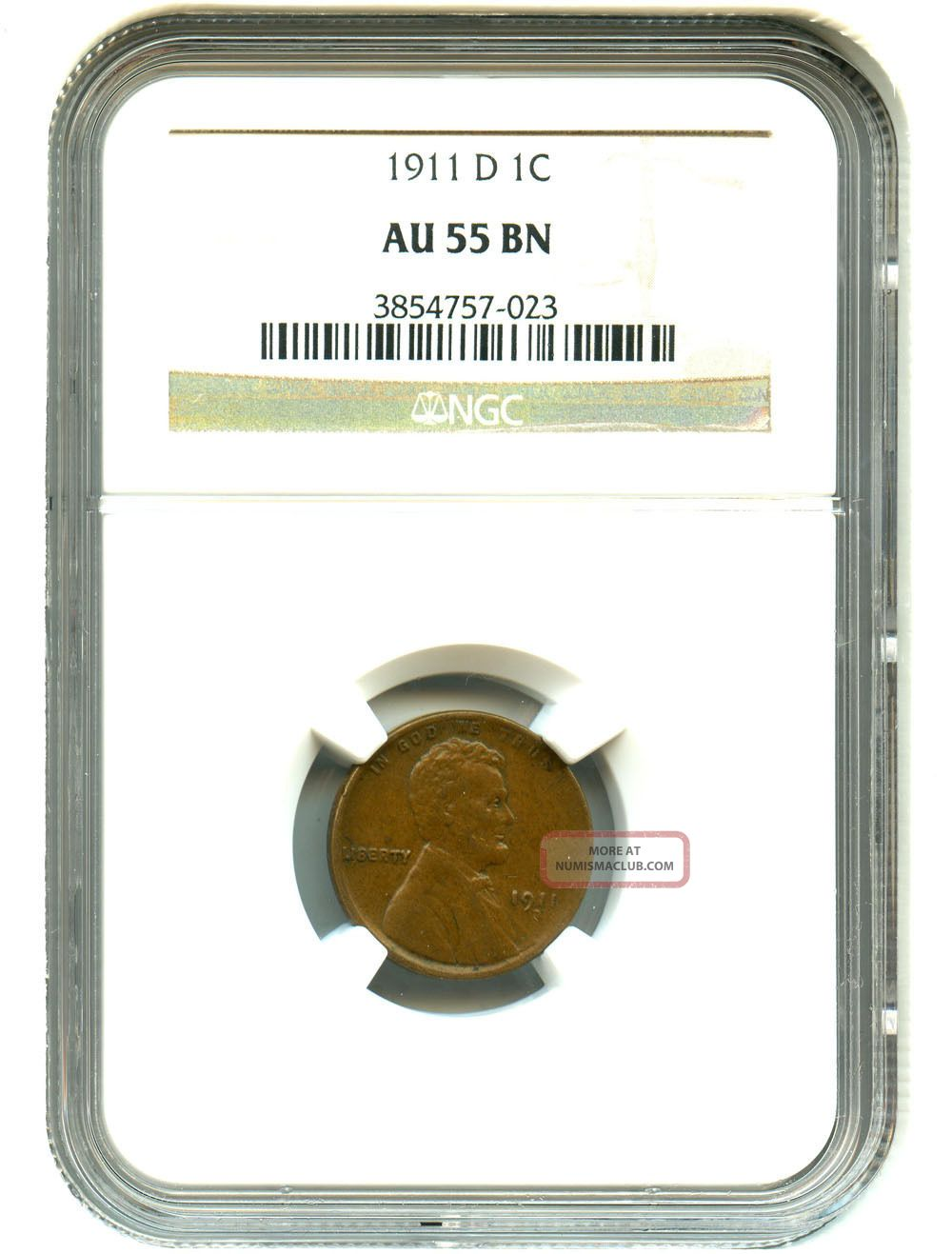 1911 - D 1c Ngc Au55 Lincoln Cent Small Cents photo