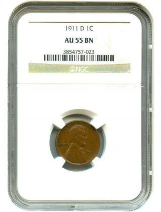 1911 - D 1c Ngc Au55 Lincoln Cent photo