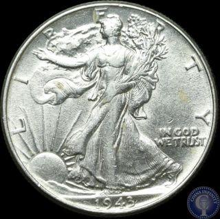 1943 P Choice Au/unc Silver Walking Liberty Half Dollar P photo