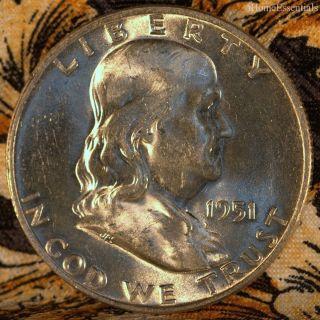Half Dollar Franklin 1951 - D,  Gem Uncirculated Plus,  Eye Appealing photo