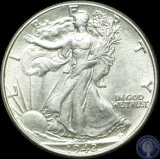 1942 Silver Walking Liberty Half Dollar Gorgeous Bu Gem S&h 5 photo