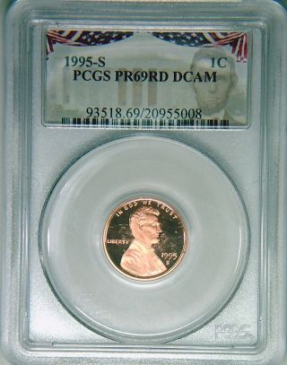 1995 - S Pcgs Pr69dcam Proof Lincoln Cent Deep Cameo Red Rare Bunting Holder photo