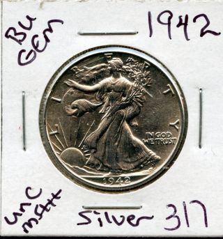 1942 Bu Gem Liberty Walking Silver Half Dollar Coin 317 $unc/ms++$us Mint$rare photo
