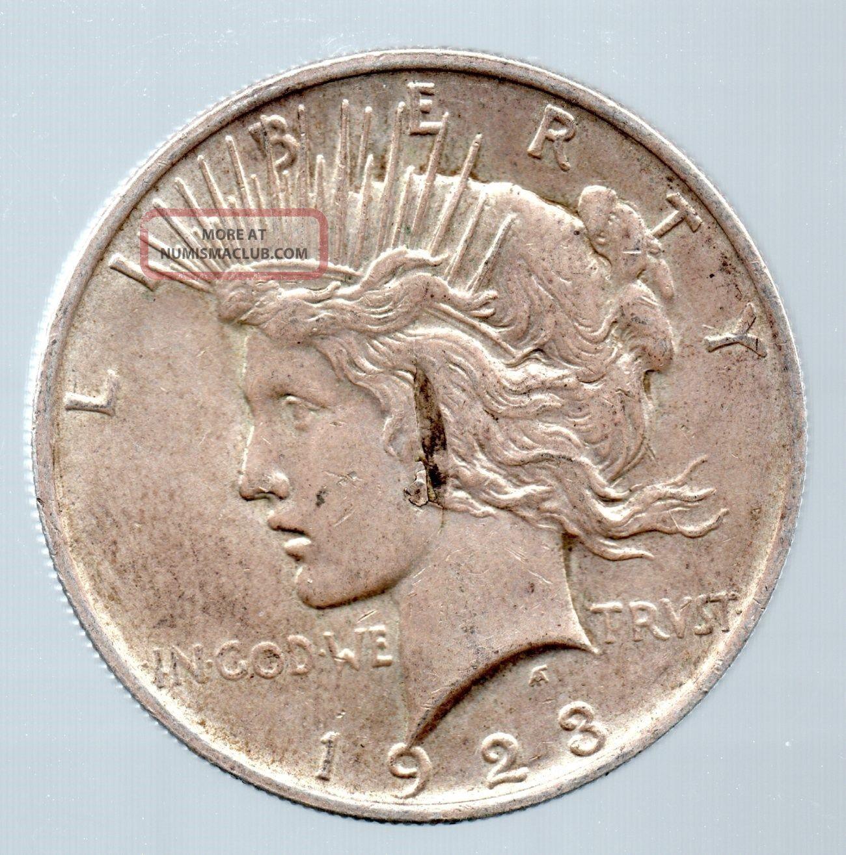1923 Peace Dollar Error With Deep Strike Thru Lamination