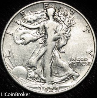1929 D Walking Liberty Silver Half Dollar Xf. .  Extremely Fine 25 photo