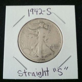 1942 Straight S Walking Liberty 90% Silver Half Dollar.  900 Fine Silver photo