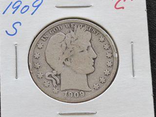 1909 - S Barber Half Dollar 90% Silver U.  S.  Coin C1543l photo
