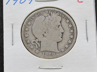 1909 - P Barber Half Dollar 90% Silver U.  S.  Coin C1542l photo