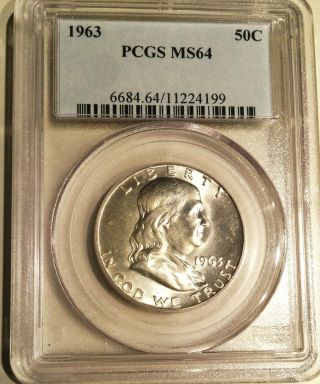 1963 Franklin Half Dollar Pcgs Ms 64 Lusterous photo
