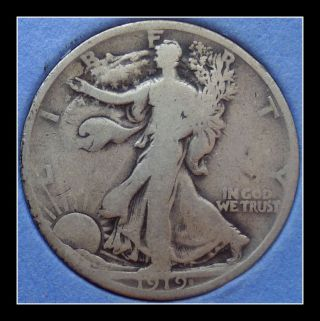 1919 - S Us Walking Liberty Half Dollar photo