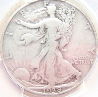 1938 - D Walking Liberty Half Pcgs Vg10 - List $135 - photo