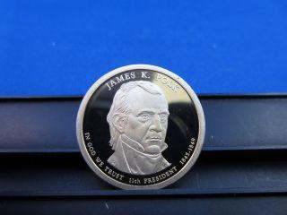 2009 James K.  Polk $1 Coin - Deep Cameo Proof S - - Third Year Presidential photo