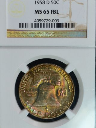 1958 - D Franklin Half Dollar Ngc Ms65 Fbl Pink,  Gold,  Green Rev Color 4059729 - 003 photo
