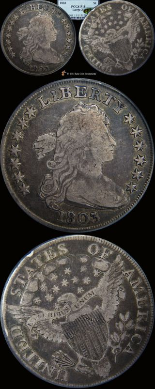 1803 Silver Dollar - 1803 Early $1 - Large 3 - Bb - 255 - Pcgs F15 Cac photo