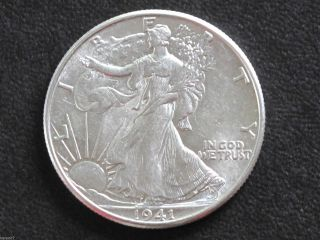 1941 - P Liberty Walking Half Dollar 90% Silver U.  S.  Coin D6480 photo