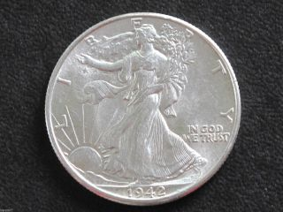 1942 - P Liberty Walking Half Dollar 90% Silver U.  S.  Coin D6470 photo