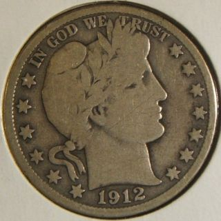 1912 - S Silver Barber Half Dollar Vg Tough Date photo