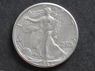 1942 - P Liberty Walking Half Dollar 90% Silver U.  S.  Coin D6471 photo
