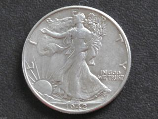 1942 - P Liberty Walking Half Dollar 90% Silver U.  S.  Coin D6473 photo