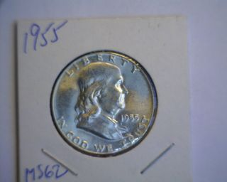 1955 Key Date Franklin Half Dollar - Choice Bu - Look photo