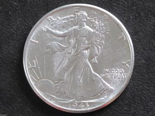 1943 - P Liberty Walking Half Dollar 90% Silver U.  S.  Coin D6469 photo