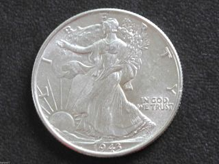 1943 - P Liberty Walking Half Dollar 90% Silver U.  S.  Coin D6477 photo