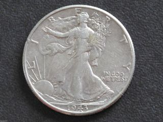 1943 - P Liberty Walking Half Dollar 90% Silver U.  S.  Coin D6478 photo