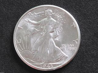 1943 - P Liberty Walking Half Dollar 90% Silver U.  S.  Coin D6504 photo