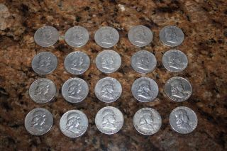 20 Franklin Silver Half Dollars 1950 - 1961 photo