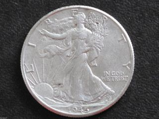1945 - P Liberty Walking Half Dollar 90% Silver U.  S.  Coin D6468 photo