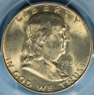 1950 - D Franklin Half Dollar Pcgs Ms64fbl - Attractive Light Tone,  Bold Lines photo