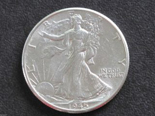 1945 - P Liberty Walking Half Dollar 90% Silver U.  S.  Coin D6476 photo
