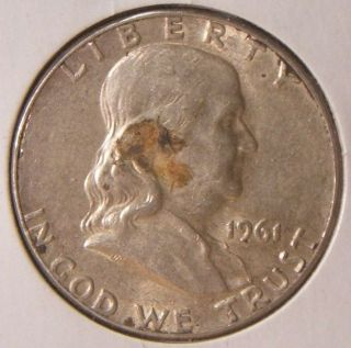 1961 - P Silver Franklin Half Better Date Au - Bu Dirty photo