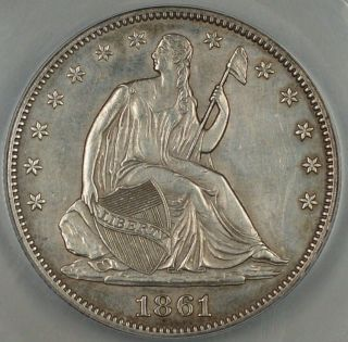 1861 Seated Liberty Silver Half Dollar,  Anacs Au - 58 Details,  Cleaned,  Civil War photo