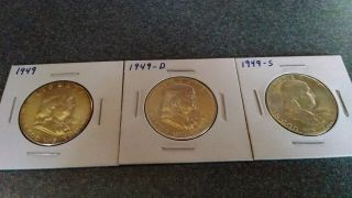 1949 P - D - S Franklin Halves In Bu Or Better photo