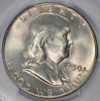 1950 Franklin Half Dollar Pcgs Ms64 Fbl Subtle Color On Obverse 27219998 photo