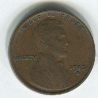 1913 - D 1c Wheat Cent Choice Xf photo
