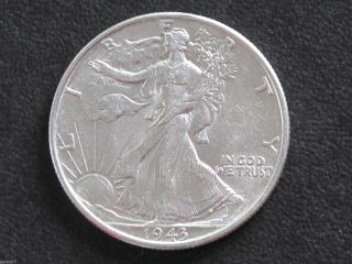 1943 - P Liberty Walking Half Dollar 90% Silver U.  S.  Coin D6513 photo