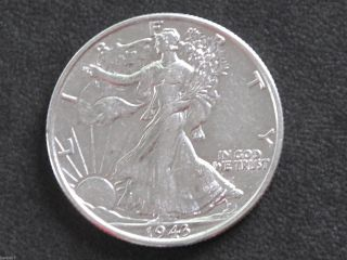1943 - P Liberty Walking Half Dollar 90% Silver U.  S.  Coin D6514 photo