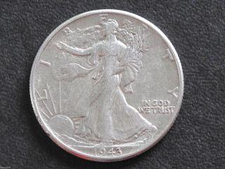 1943 - P Liberty Walking Half Dollar 90% Silver U.  S.  Coin D6520 photo
