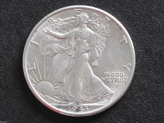 1943 - P Liberty Walking Half Dollar 90% Silver U.  S.  Coin D6526 photo
